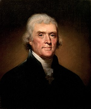 Portrait of Thomas Jefferson by Rembrandt Peale.
